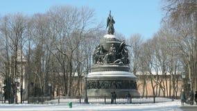 Тысячелетие памятника России в Veliky Новгороде сток-видео