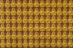 10 тысяч золотые buddhas выровнянные вверх вдоль стены Стоковое Изображение
