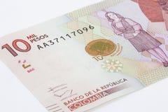 10 тысяч колумбийские песо Билл Стоковая Фотография RF
