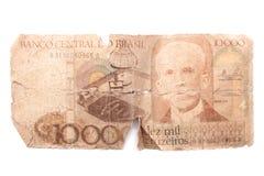 10 тысяч Cruzeiros - античные бразильские деньги Стоковая Фотография