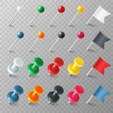 Тэксы флагов штырей Покрашенный тэкс флага штыря отметки указателя приколол объявление доски организованное pushpin, реалистическ иллюстрация штока