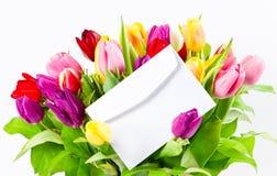 тюльпаны букета цветастые свежие Стоковое Изображение RF