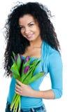 тюльпаны девушки стоковая фотография