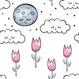Тюльпаны Картина акварели вектора безшовная бесплатная иллюстрация