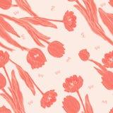 Тюльпаны коралла персика с картиной бабочек безшовной иллюстрация вектора