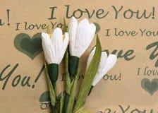 Тюльпаны на kraftovy бумаге Стоковое Фото