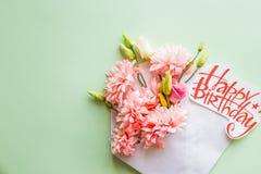 тюльпаны цветка повилики состава предпосылки белые Творческая граница розовых хризантем на зеленой предпосылке желтый цвет картин Стоковая Фотография