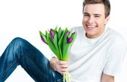 тюльпаны человека букета стоковая фотография rf