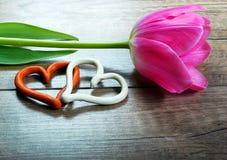 Тюльпан и сердца на деревянной предпосылке Стоковая Фотография