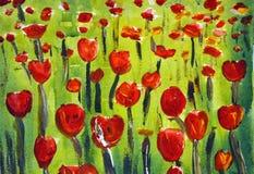 тюльпан красного цвета искусства Стоковое Изображение RF