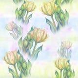 Тюльпан - состав цветков just rained картина безшовная Стоковое Фото