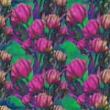 Тюльпан - состав цветков just rained картина безшовная Стоковое Изображение