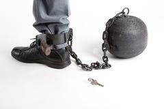 тюрьма s человека ноги шарика Стоковое Изображение