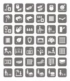 Тюфяки, кровати, крышки тюфяка, значки Стоковое фото RF