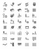 Тюфяки, крышки тюфяка, кровати, значки одн-цвета иллюстрация вектора