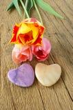3 тюльпана и 2 каменных сердца Стоковые Фото