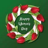 Тюльпаны венок, цветки, 8-ое марта Счастливый день ` s женщин вектор Стоковое Изображение RF