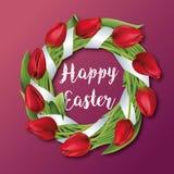 Тюльпаны венок, цветки, счастливая пасха, международный религиозный праздник, вектор Стоковая Фотография