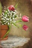 Тюльпаны в глиняном горшке с текстурой иллюстрация штока