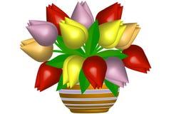 Тюльпаны в цветочном горшке - иллюстрации Стоковые Изображения