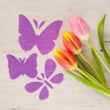 Тюльпаны и бабочки Стоковые Изображения