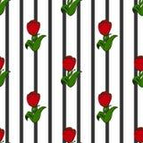 Тюльпаны на предпосылке черных нашивок, безшовной картине Стоковое Изображение RF