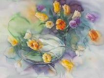 Тюльпаны цвета на зеленой фиолетовой акварели предпосылки Стоковое фото RF