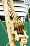 Тяга веревочки снасти блока шкива Стоковое Изображение