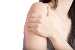 Тягостная рука в женщине изолированной на белой предпосылке Путь клиппирования на белой предпосылке стоковые фотографии rf