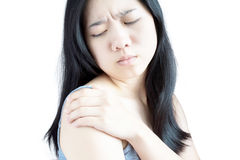 Тягостное плечо в женщине изолированной на белой предпосылке Путь клиппирования на белой предпосылке стоковое фото