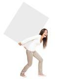 тяжелая поднимаясь показывая женщина знака Стоковое Изображение