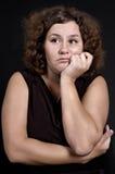 тяжелая унылая женщина Стоковая Фотография