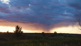 Тяжелые бурные облака над выравниваясь полем видеоматериал