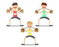 Тяжелоатлет спортсмена делая тренировки трудные Vektor Стоковое Изображение