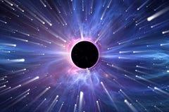 Тяжелое поле тяготения вокруг черной дыры Стоковое Изображение