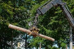 Тяжелый затяжелитель жатки делая работу лесохозяйства Стоковое фото RF