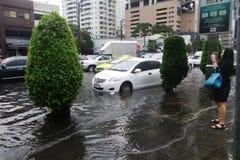 Тяжелый ливень затопляет Бангкок Стоковая Фотография RF