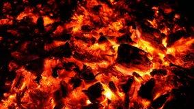 Тлеющие угли и золы большого огня сток-видео