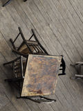 Тable and chairs on the wooden floor Royalty Free Stock Photography