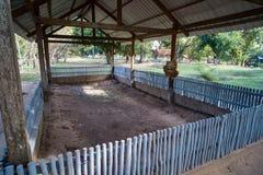 Убивая поля в Камбодже место где массовые унесенные исполнения Khmer Rouge случились геноцид в Камбодже стоковое фото