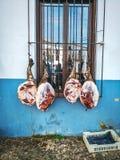 Убой свиньи традиционного фестиваля иберийский в Cortelazor, Уэльве, Испании стоковое фото rf