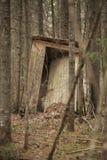 Уборная во дворе в древесинах стоковые фотографии rf