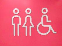 Уборный подписывает с символом доступа для инвалидов на розовой предпосылке иллюстрация вектора