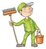 Уборщик держа щетку и ведро Стоковая Фотография RF