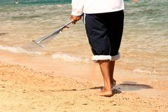 уборщик пляжа Стоковые Изображения RF