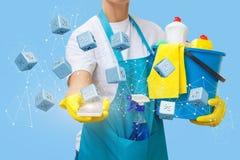 Уборщица показывает скидку как процент Стоковые Фотографии RF