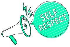 Уважение собственной личности сочинительства текста почерка Гордость и доверие смысла концепции в себе стоят вверх для себя громк иллюстрация штока