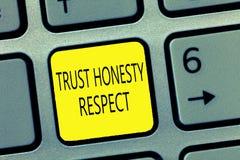 Уважение честности доверия сочинительства текста почерка Концепция знача респектабельные черты фасетка хорошего нравственного хар стоковое изображение rf