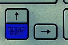 Уважение честности доверия текста сочинительства слова Концепция дела для респектабельных черт фасетка хорошего нравственного хар стоковое фото rf