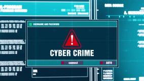 56 Уведомление злодеяния кибер предупреждающее на системе охранного оповещения цифров на экране иллюстрация штока